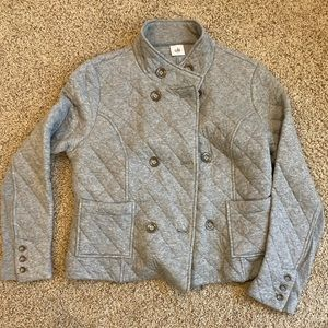 Cabi Gray double breasted quilted jacket